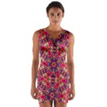Folk Floral Geometric Pattern Wrap Front Bodycon Dress