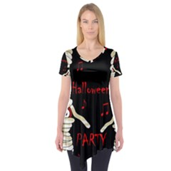 Halloween mummy party Short Sleeve Tunic  by Valentinaart