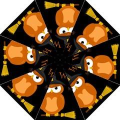 Halloween Witch   Orange Owl Hook Handle Umbrellas (large) by Valentinaart