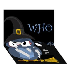 Halloween Witch   Blue Owl Love Bottom 3d Greeting Card (7x5) by Valentinaart