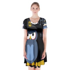 Halloween Witch   Blue Owl Short Sleeve V Neck Flare Dress by Valentinaart