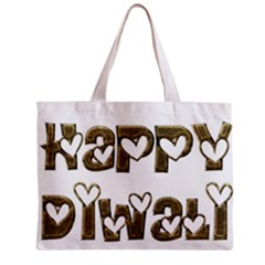 Happy Diwali Greeting Cute Hearts Typography Festival Of Lights Celebration Zipper Mini Tote Bag by yoursparklingshop