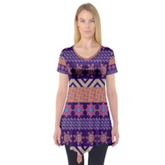 Colorful Winter Pattern Short Sleeve Tunic  by DanaeStudio