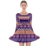 Colorful Winter Pattern Long Sleeve Skater Dress