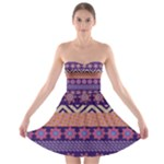 Colorful Winter Pattern Strapless Bra Top Dress