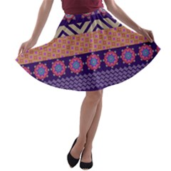 Colorful Winter Pattern A Line Skater Skirt by DanaeStudio
