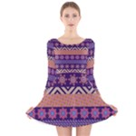 Colorful Winter Pattern Long Sleeve Velvet Skater Dress