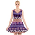 Colorful Winter Pattern V-Neck Sleeveless Dress