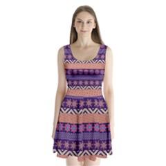 Colorful Winter Pattern Split Back Mini Dress  by DanaeStudio