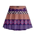 Colorful Winter Pattern Mini Flare Skirt