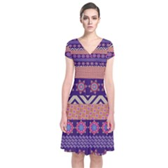 Colorful Winter Pattern Short Sleeve Front Wrap Dress by DanaeStudio