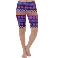 Colorful Winter Pattern Cropped Leggings  by DanaeStudio