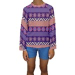 Colorful Tribal Pattern Kids  Long Sleeve Swimwear
