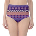 Colorful Tribal Pattern High-Waist Bikini Bottoms