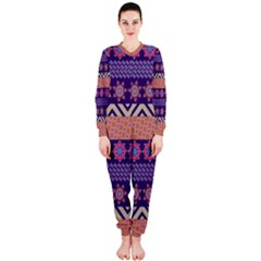 Colorful Winter Pattern Onepiece Jumpsuit (ladies) by DanaeStudio