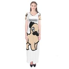 Fawn Pug Cartoon Short Sleeve Maxi Dress by TailWags