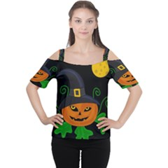 Halloween Witch Pumpkin Women s Cutout Shoulder Tee by Valentinaart