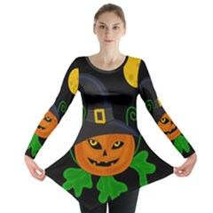 Halloween Witch Pumpkin Long Sleeve Tunic  by Valentinaart