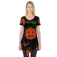 Halloween Pumpkin Pattern Short Sleeve Tunic  by Valentinaart