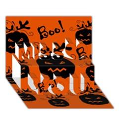 Halloween Black Pumpkins Pattern Miss You 3d Greeting Card (7x5) by Valentinaart