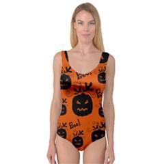 Halloween black pumpkins pattern Princess Tank Leotard  by Valentinaart