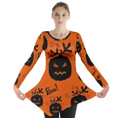 Halloween Black Pumpkins Pattern Long Sleeve Tunic  by Valentinaart