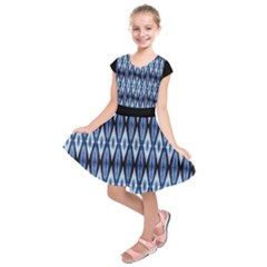 Blue White Diamond Pattern  Kids  Short Sleeve Dress by Costasonlineshop