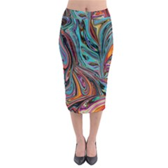 Brilliant Abstract In Blue, Orange, Purple, And Lime Green  Midi Pencil Skirt by theunrulyartist