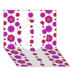 Vertical Stripes Floral Pattern Collage Peace Sign 3d Greeting Card (7x5) by dflcprints