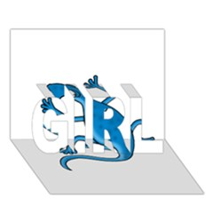 Blue Lizard Girl 3d Greeting Card (7x5)