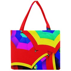 Umbrella Color Red Yellow Green Blue Purple Mini Tote Bag by AnjaniArt
