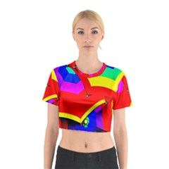 Umbrella Color Red Yellow Green Blue Purple Cotton Crop Top by AnjaniArt