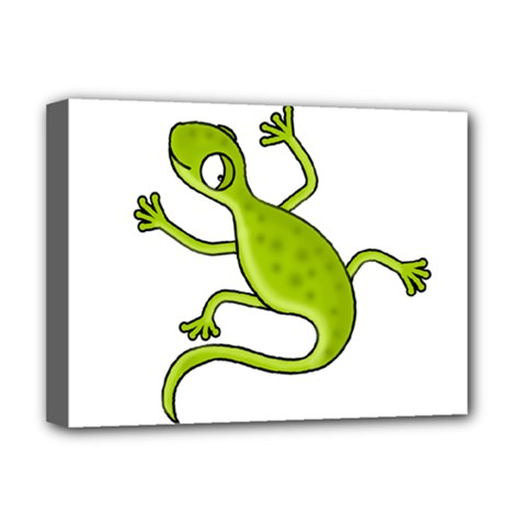 Green Lizard Deluxe Canvas 16  X 12   by Valentinaart