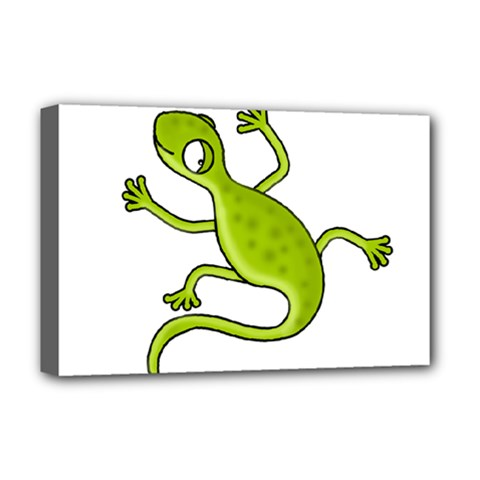 Green Lizard Deluxe Canvas 18  X 12   by Valentinaart