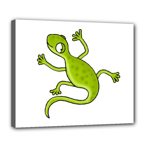 Green Lizard Deluxe Canvas 24  X 20   by Valentinaart