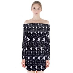 White Star Long Sleeve Off Shoulder Dress by AnjaniArt