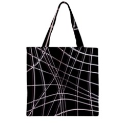 Black And White Warped Lines Zipper Grocery Tote Bag by Valentinaart