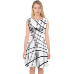 White and black warped lines Capsleeve Midi Dress