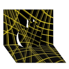 Yellow Abstract Warped Lines Apple 3d Greeting Card (7x5) by Valentinaart
