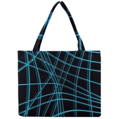 Cyan And Black Warped Lines Mini Tote Bag by Valentinaart