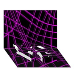 Purple And Black Warped Lines Love Bottom 3d Greeting Card (7x5) by Valentinaart