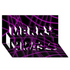 Purple And Black Warped Lines Merry Xmas 3d Greeting Card (8x4) by Valentinaart