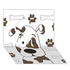 Cute Dog Clover 3d Greeting Card (7x5) by Valentinaart