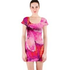 Geometric Magenta Garden Short Sleeve Bodycon Dress by DanaeStudio