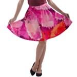 Geometric Magenta Garden A-line Skater Skirt