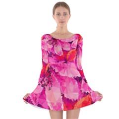 Geometric Magenta Garden Long Sleeve Velvet Skater Dress by DanaeStudio
