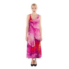 Geometric Magenta Garden Sleeveless Maxi Dress by DanaeStudio