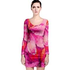 Geometric Magenta Garden Long Sleeve Bodycon Dress by DanaeStudio