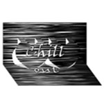 Black an white  Chill out  Twin Hearts 3D Greeting Card (8x4)