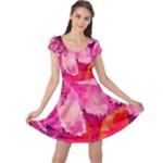 Geometric Magenta Garden Cap Sleeve Dress